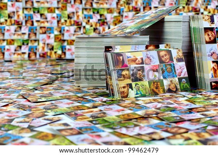 huge number of printed products. photo business card - stock photo