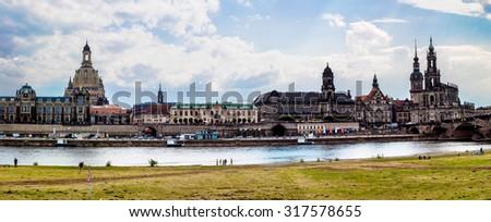 Huge panorama of Dresden, Germany. Cityscape. Skyline - stock photo