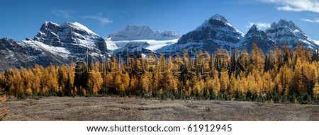 Huge panorama of the Valley of the Ten Peaks - stock photo