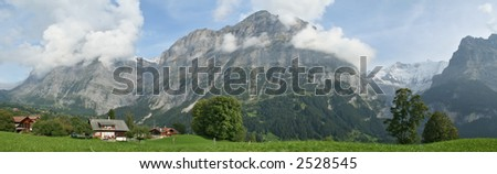 Huge, Panoramic Picture of Swiss Alps - stock photo