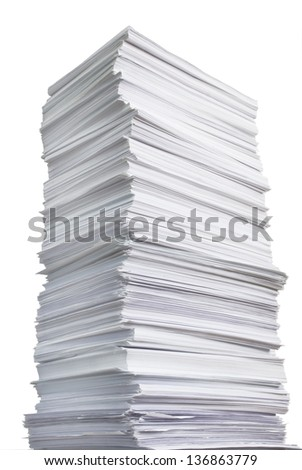 huge paper stack against the white background - stock photo