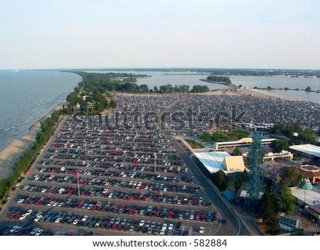 Huge parking lot near the lake - stock photo