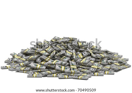 Huge pile of hundred dollar bill stacks, isolated on white. - stock photo