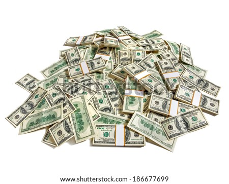 Huge pile of money / studio photography of American moneys of hundred dollar  - stock photo