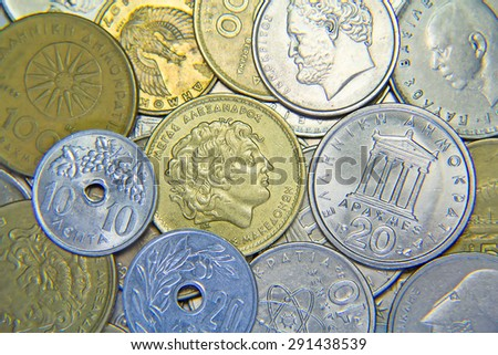 Huge pile of the greek coins - stock photo