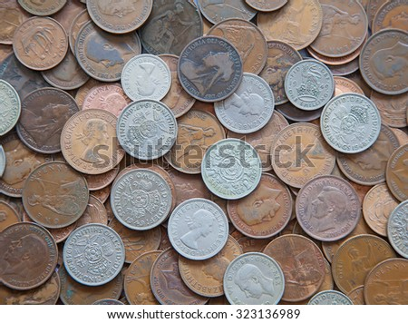 Huge pile of the UK coins - stock photo