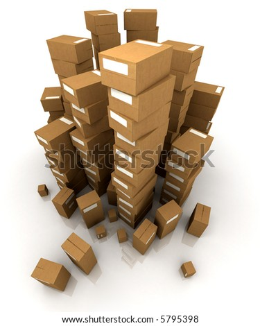 Huge piles of cardboard boxes in equilibrium - stock photo