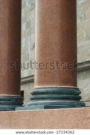 Huge pillars. Part of the historical building in Saint Petersburg, Russia. - stock photo