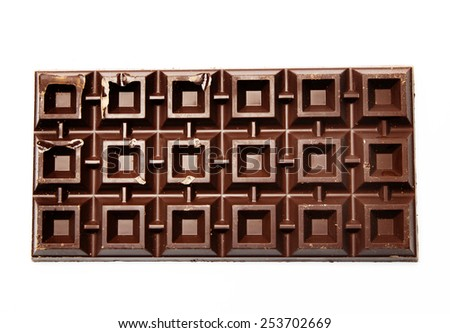 Huge plate of brown bitter chocolate - stock photo