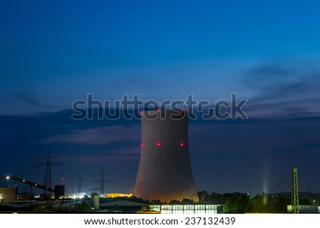 Huge Power station in Germany in summer night - stock photo