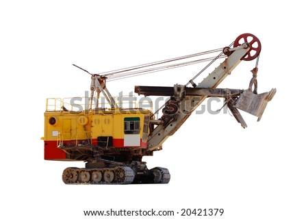 Huge quarry excavator isolated on white - stock photo