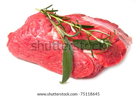 huge red meat chunk isolated over white background - stock photo