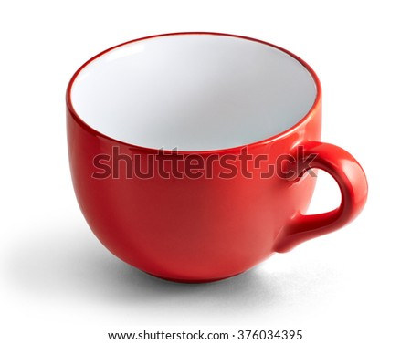 Huge red mug. Red cup for tea or soup isolated on white background with clipping path. - stock photo