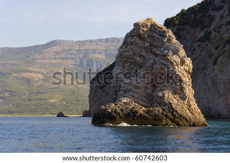 Huge rock at the Adriatic Sea, near Montenegro