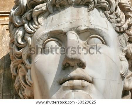 Huge Roman Head. Cortile della Pigna. Musei Vaticani. Vatican. Rome. Italy. More of this motif & more Rome in my port. - stock photo