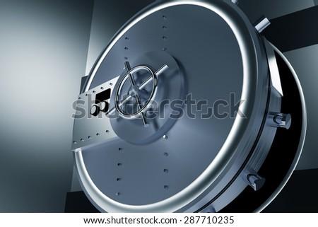 Huge Safe Bank Vault. Shiny Metallic Opened Bank Vault 3D Illustration. - stock photo