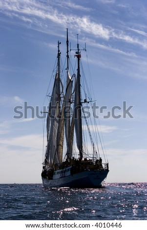 huge sailing boat at sea - stock photo