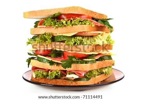 Huge sandwich on white background