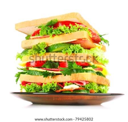 Huge sandwich on white background - stock photo
