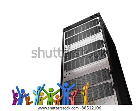 Huge server and 3d small people.Isolated on white background.3d rendered. - stock photo