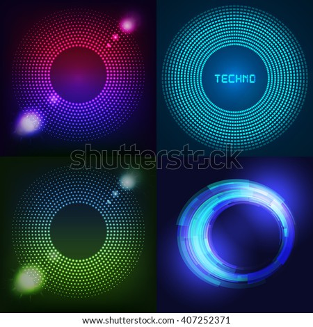 Huge set of glowing rounds with glitter. Abstract colored shape for your business idea. - stock photo