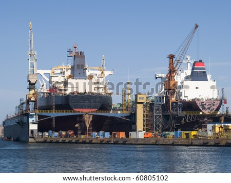 Huge ships in a dry dock - stock photo