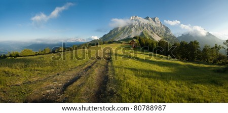 Huge size panoramic image suitable for large prints. Also very nice desktop wallpaper. Place is Komovi mountains in Montenegro. - stock photo