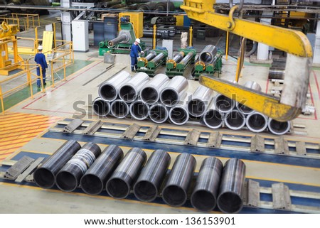 Huge sleeve for winding sheets of aluminum - stock photo