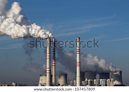 huge smoke from coal power plant - stock photo