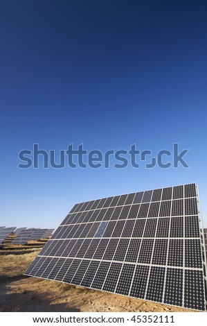 huge solar panels and clear sky