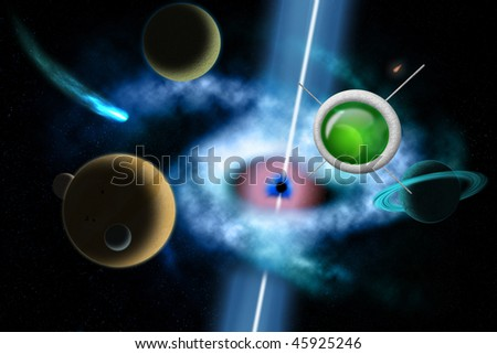 Huge space background - stock photo