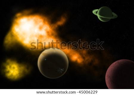 Huge space landscape - stock photo
