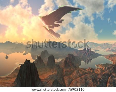 Huge Spaceship over Alien Landscape - stock photo