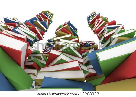 Huge stack of books - stock photo