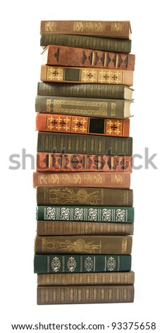 Huge stack of old antique books isolated on white background - stock photo