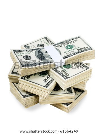 Huge stack of prop money. Bundled in $10000 dollar stacks. Isolated on black. - stock photo