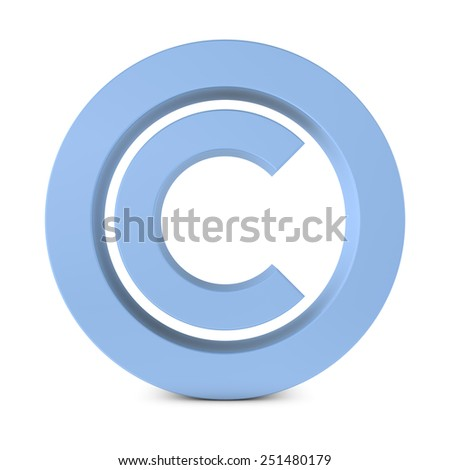 Huge Standing Copyright Symbol, 3D Illustration - stock photo