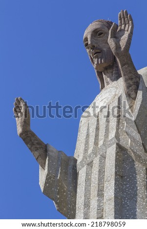 Huge stone sculpture of Christ of Otero in Palencia, Spain
