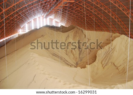 Huge storage facility for soy beans waiting to be exported from Brazil to US and Europe - stock photo