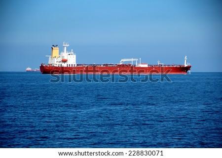 huge tanker at sea - stock photo