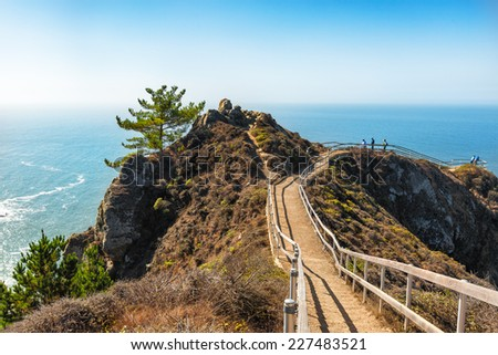 Huge view of the Pacific Ocean from the Muir Beach Overlook 30 miles north of San Francisco - stock photo