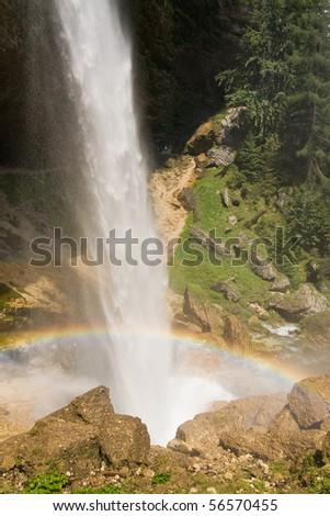 huge waterfall in slovenian julian alps - stock photo