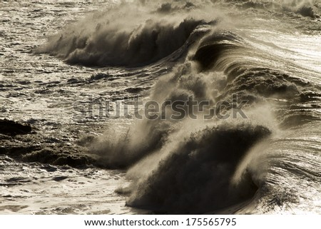 huge wave - La Palma - stock photo