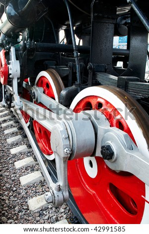 Huge wheels of an old steam locomotive in a museum
