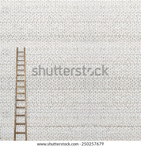 huge white brick wall with a wooden ladder background - stock photo