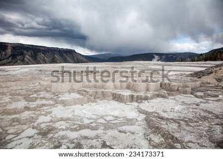 Huge White hot terraces - stock photo
