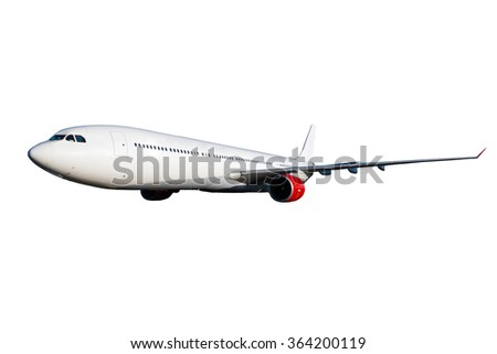Huge white plane with red engines on white background - stock photo