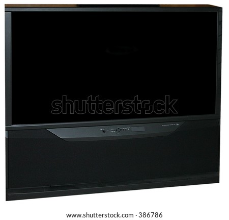 huge widescreen tv - stock photo