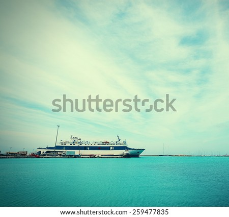 huge Yacht docked at Marina Flisvos in Faliro Athens Greece - stock photo