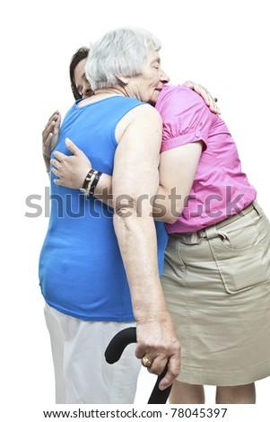 Hugging a senior - stock photo
